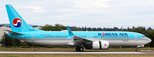 EW238M001 | JC Wings 1:200 | Boeing 737-8MAX Korean Air HL8351 (with stand)