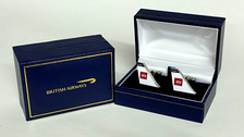 CUFFBEA | Gifts | British Airways - BEA historic cufflinks.  A high quality 3mm thick hard enamel pair of cufflinks presented in a gift box.