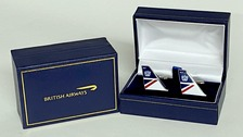 CUFFLANDOR | Gifts | British Airways - Landor historic cufflinks. A high quality 3mm thick hard enamel pair of cufflinks presented in a gift box.