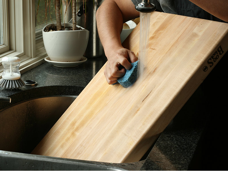 Washing the cutting board