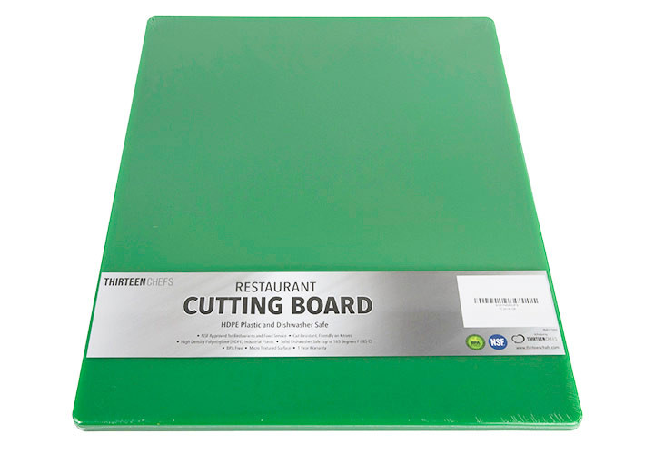 Large green plastic cutting board