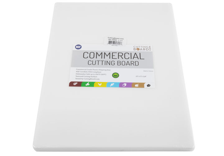 Heavy duty plastic cutting board for commercial and home kitchens