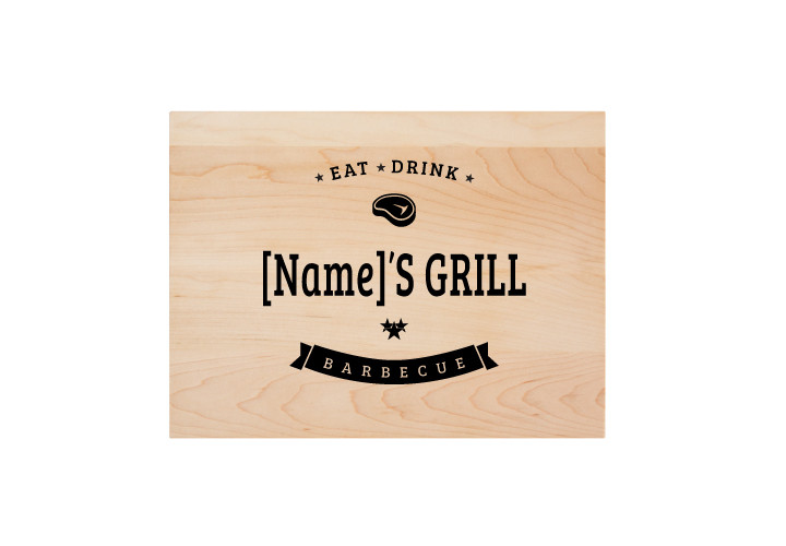 Eat,  drink, barbecue custom engraved cutting board.