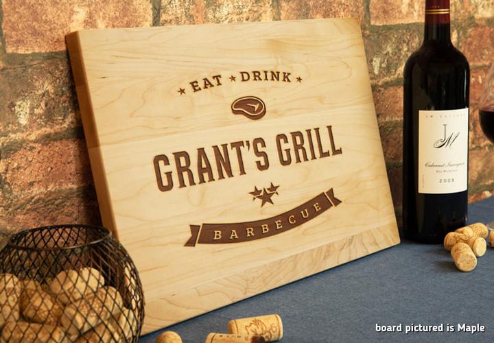 Custom engraved barbecue theme cutting board