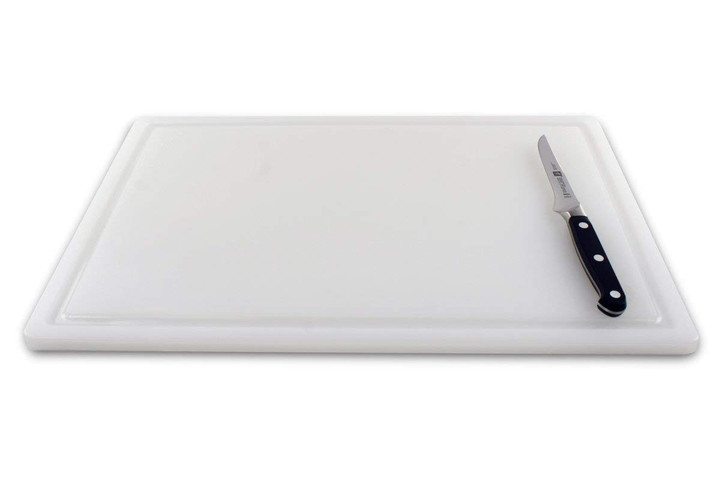 Upright commercial plastic cutting board