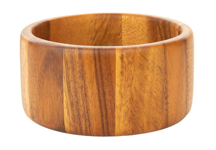 Modern straight edged Acacia wood bowl