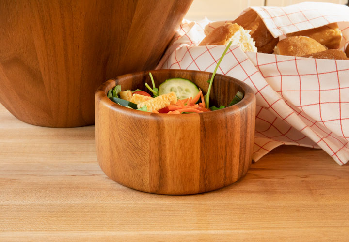 Snack and salad bowl in tropical acacia wood