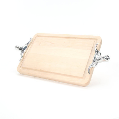 Cutting Board with Longhorn Handles and Juice Groove,  Ideal for Carving