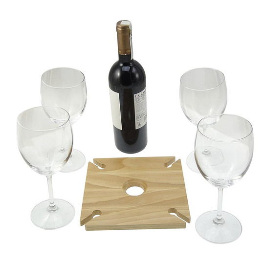 Wine caddy holds four standard wine glasses