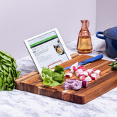 Reversible Cutting Board with Tablet Stand and Juice Groove