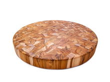 "Round teak end grain cutting board 18"" across"