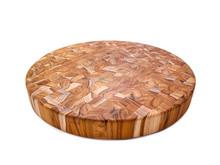 "Round teak end grain cutting board 18"" across"