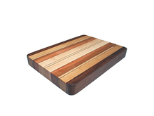 Mixed wood cutting board with walnut, beech, birch and more