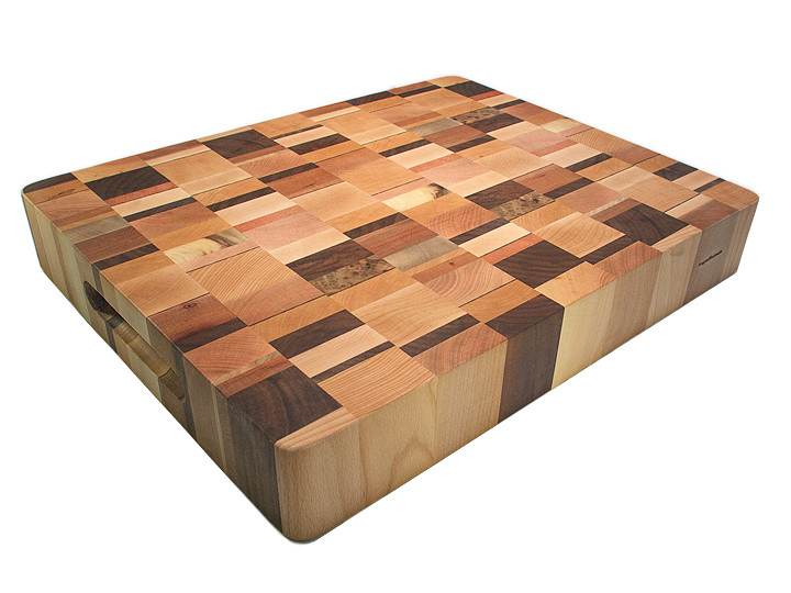 End grain butcher block with Northwest hardwoods