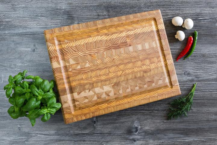 Larch Wood Medium Carving Board 17.75 x 13.5 x 1.6 Lifestyle
