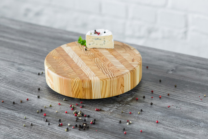 Larch Wood Round Petit Cheese Board 10 x 2 Lifestyle