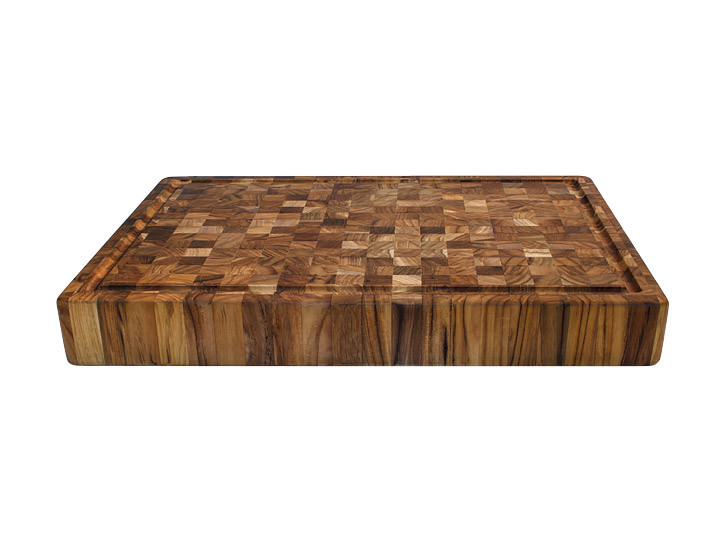 """Proteak End Grain Rectangle Cutting Board With Grips 20"""" x 14"""" x 2.5"""" Side View"""