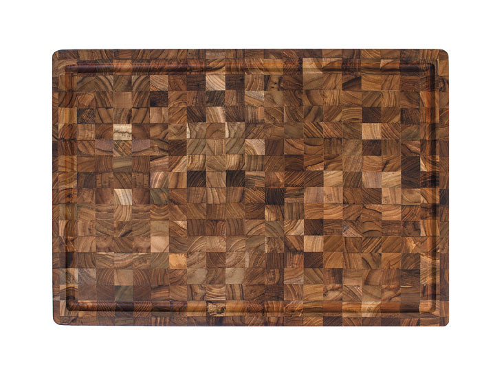 """Proteak End Grain Rectangle Cutting Board With Grips 20"""" x 14"""" x 2.5"""" Top View"""