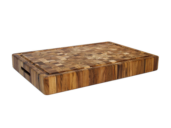 """Proteak End Grain Rectangle Cutting Board With Grips 20"""" x 14"""" x 2.5"""" Overview"""