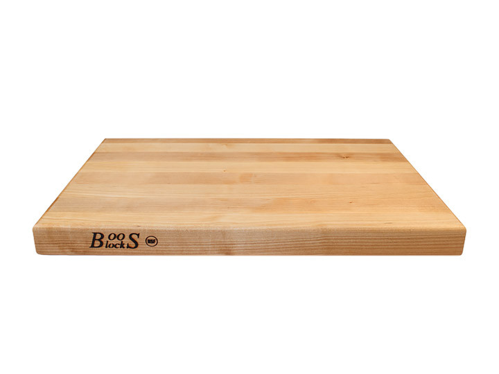 """John Boos Reversible Cutting Board With Grips Maple 18"""" x 12"""" x 1.5"""" Side View"""