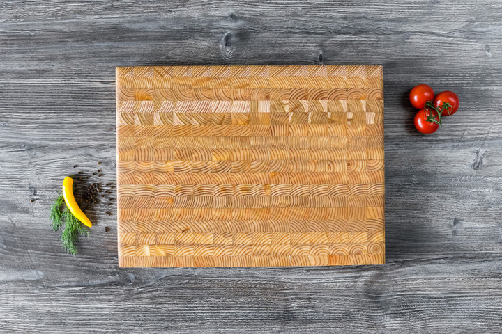 "Larch Wood Medium Classic Cutting Board 17.75"" x 11"" x 1.6"" Lifestyle"