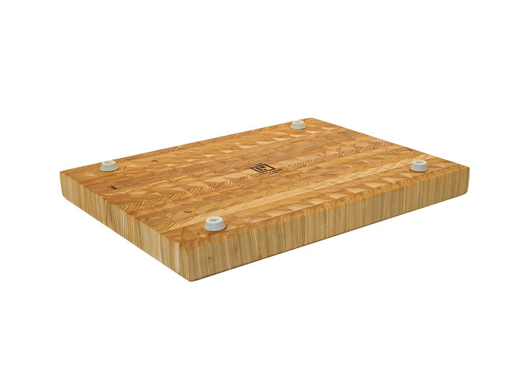 "Larch Wood Medium Classic Cutting Board 17.75"" x 11"" x 1.6"" Bottom View"