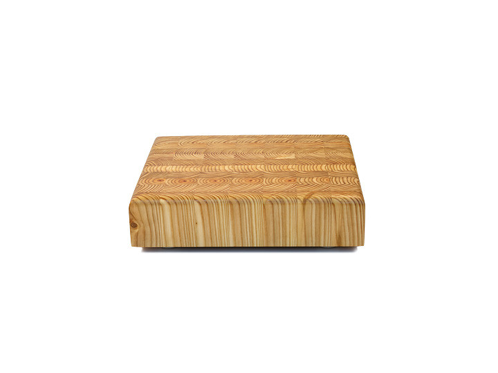 """Larch Wood Square Cutting Board 14"""" x 14"""" x 2"""" Side View"""