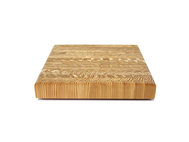 "Larch Wood Square Cutting Board 14"" x 14"" x 2""  Side View"