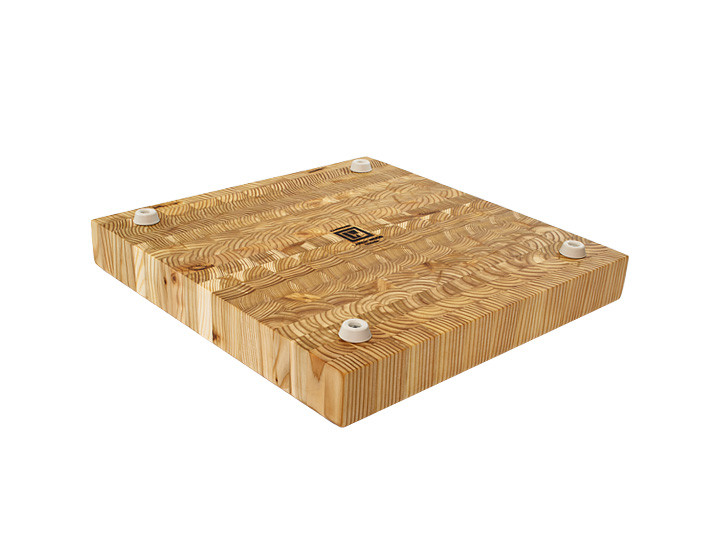 "Larch Wood Square Cutting Board 14"" x 14"" x 2""  Bottom View"