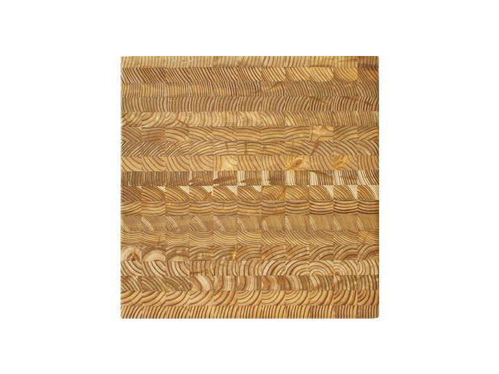 "Larch Wood Square Cutting Board 14"" x 14"" x 2""  Top View"