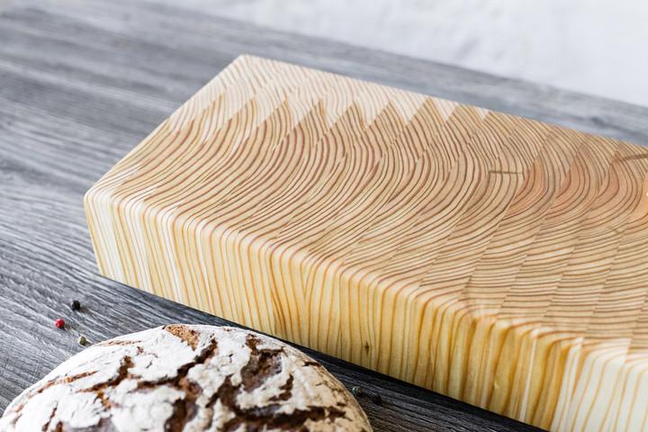 Larch Wood Tiger Stripe Buffet Board 21 x 6.375 x 2.5 Lifestyle