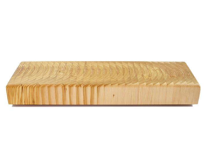 Larch Wood Tiger Stripe Buffet Board 21 x 6.375 x 2.5 Side View