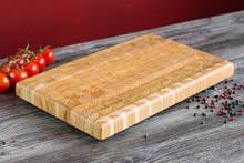 "Larch Wood Large Classic Cutting Board 21.625"" x 13.5"" x 1.75"" Lifestyle"