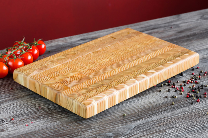 "Larch Wood Large Classic Cutting Board 21.625"" x 13.5"" x 1.75"" Lifestyle"