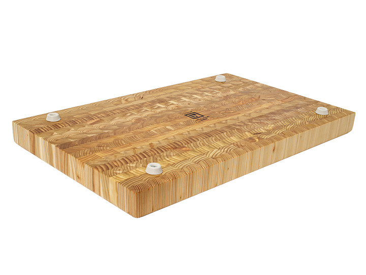 "Larch Wood Large Classic Cutting Board 21.625"" x 13.5"" x 1.75"" Bottom View"