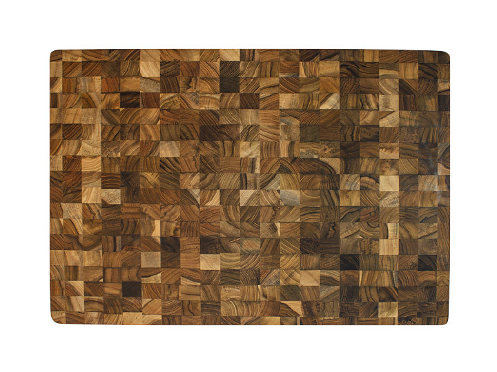 Top view of teak end grain pattern