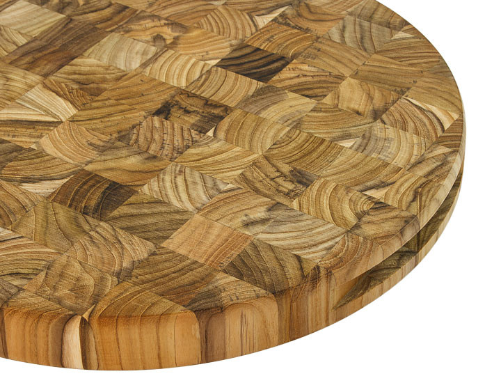 Madeira Canary End Grain Teak Round Chop Block Handles Closeup