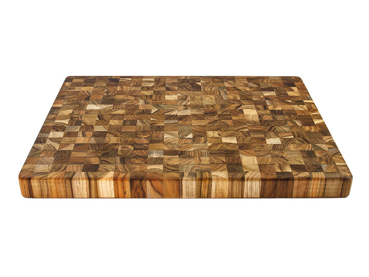 "Proteak End Grain 20"" x 15"" Rectangle Board With Handles Countertop View"