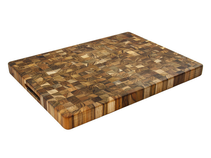 "Proteak End Grain 20"" x 15"" Rectangle Board With Handles Overview"