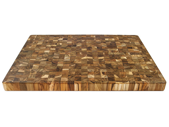 Proteak End Grain Rectangle Board With Handles Countertop View