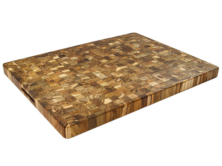 "Proteak End Grain 24"" x 18"" Rectangle Board With Handles"