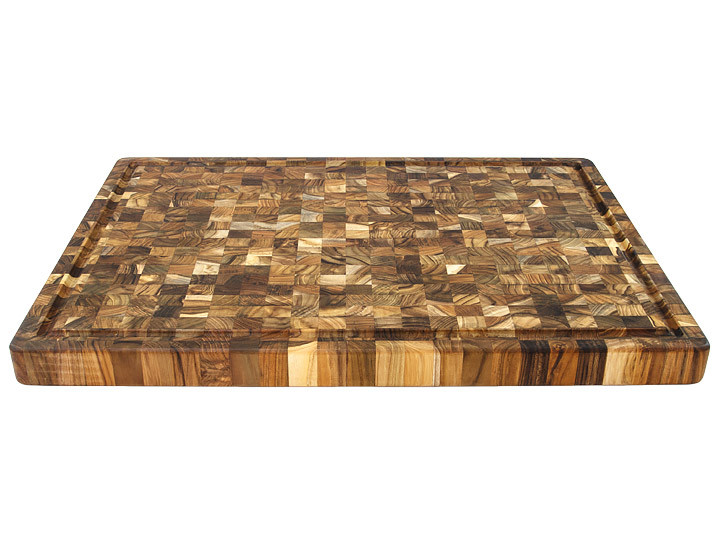 Proteak End Grain Rectangle Board 333 With Handles and Juice Groove Countertop View