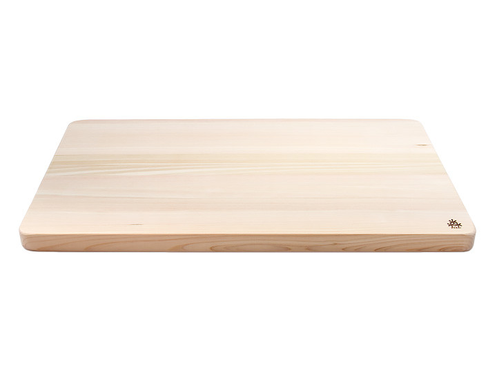 Large hinoki cutting board by Kodai, side view