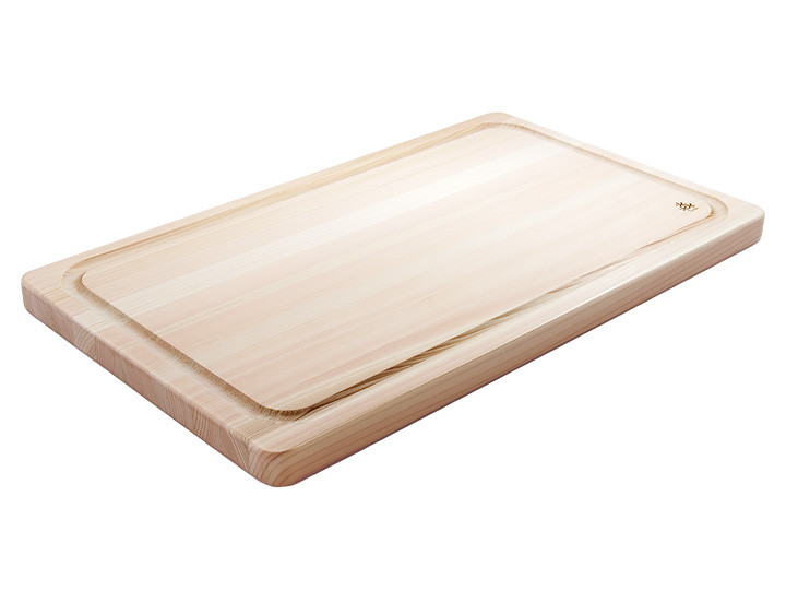 Hinoki Japanese Cypress large cutting board with groove