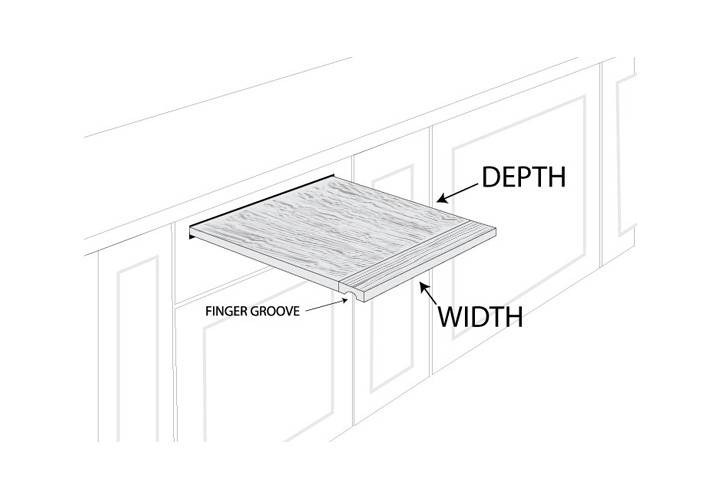 Diagram of pull out dimensions