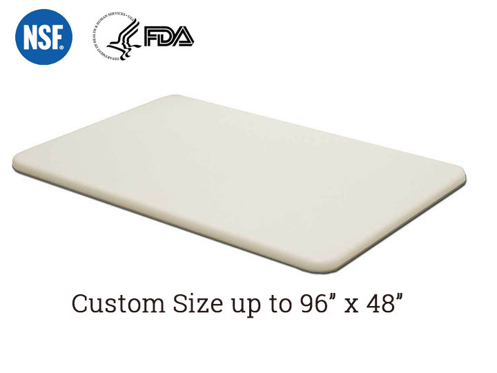 "Custom plastic HDPE cutting board 1/4"" thick"