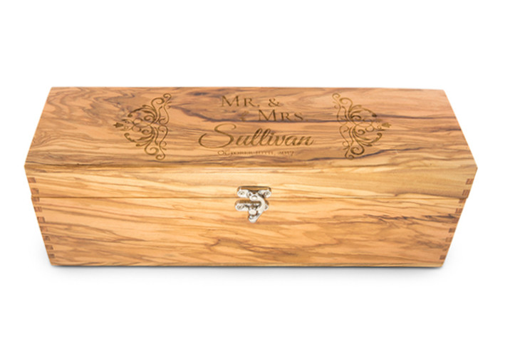 Engraved Olive Wood Wine Box