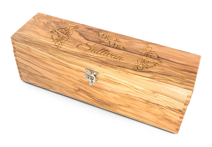 Engraved Olive Wood Wine Box Wedding Gift