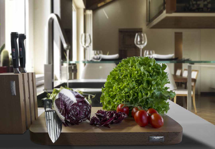 Sienna cutting board in kitchen