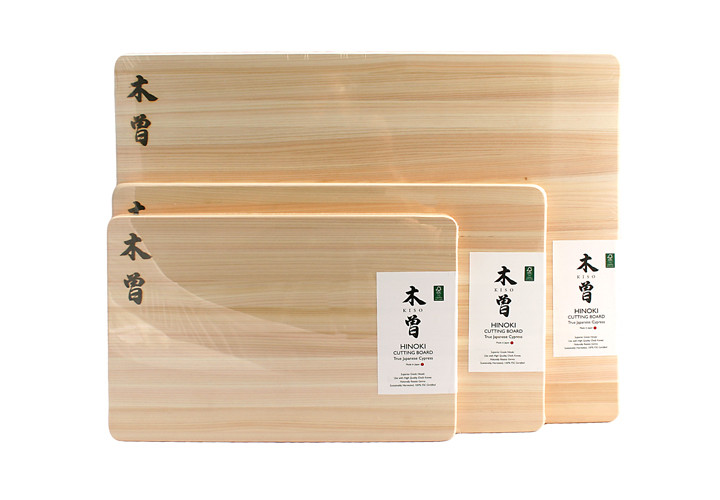 Comparison on Japanese cypress cutting boards